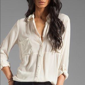 Splendid Shirting Button Up White Blouse Revolve L